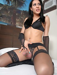 Amazing Sthefany posing in hot black stockings