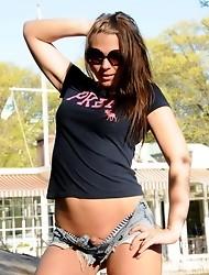 Cute tgirl Ashley George posing her tight teen body