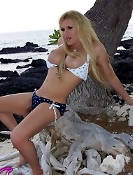Hot Transsexual Beach Babe Jesse Posing
