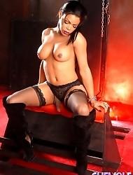 Chocolate transsexual Sheeba posing her irresistible beauty