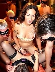 Horny tgirl Nikki fucking in a hot UK gangbang